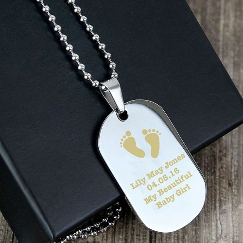 Footprints Stainless Steel Dog Tag Necklace